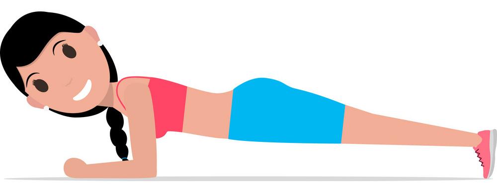 cartoon-girl-doing-exercise-forearm-plank-vector-18397076